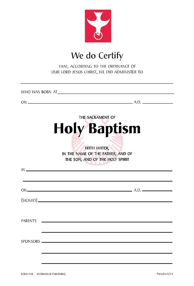 Baptismal Certificate Template